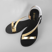 2016 new female toe fish mouth shoes shiny golden women's sandals