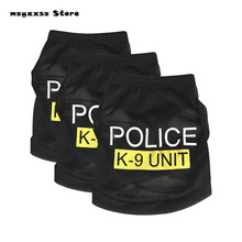 New Cute Pet Dog Puppy Clothes Police Printed Vest Costumes Summer Coat