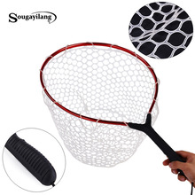 Sougayilang Rubber Fly Fishing Landing Net 60x36x27cm Red Trout Large Mesh Fish Net 350g Monofilament Hand Network Fishing(China)