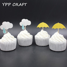 YPP CRAFT Cloud and Umbrella Party cupcake toppers picks decoration for kids birthday party favors Decoration supplies Wholesale