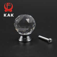 KAK 20-40mm Crystal Ball Design Clear Crystal Glass Knobs Cupboard Drawer Pull Kitchen Cabinet Wardrobe Handles Hardware