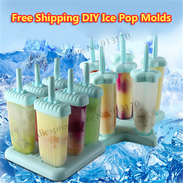 FREE SHIPPING Colorful Types Plastic Ice Pop Mold Set. Includes Stable Tray &amp; Drip Guard 6-piece Repeat Use <br><br>Aliexpress