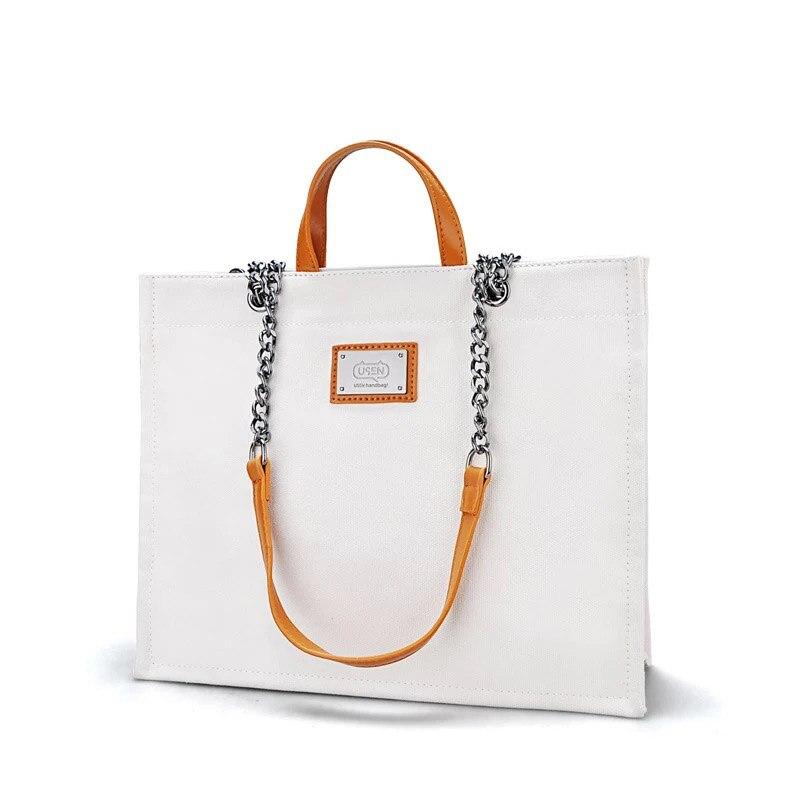 Large Capacity Women Tote Bag Solid Chain PU Top-Handle Canvas Female Handbags Fashion Women Handbag Canva Big  Casual Tote Bag<br>