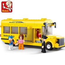 City Mini School Bus Building Blocks DIY Enlighten Model Blocks Educational Toys Christmas Gifts for kids Christmas(China)