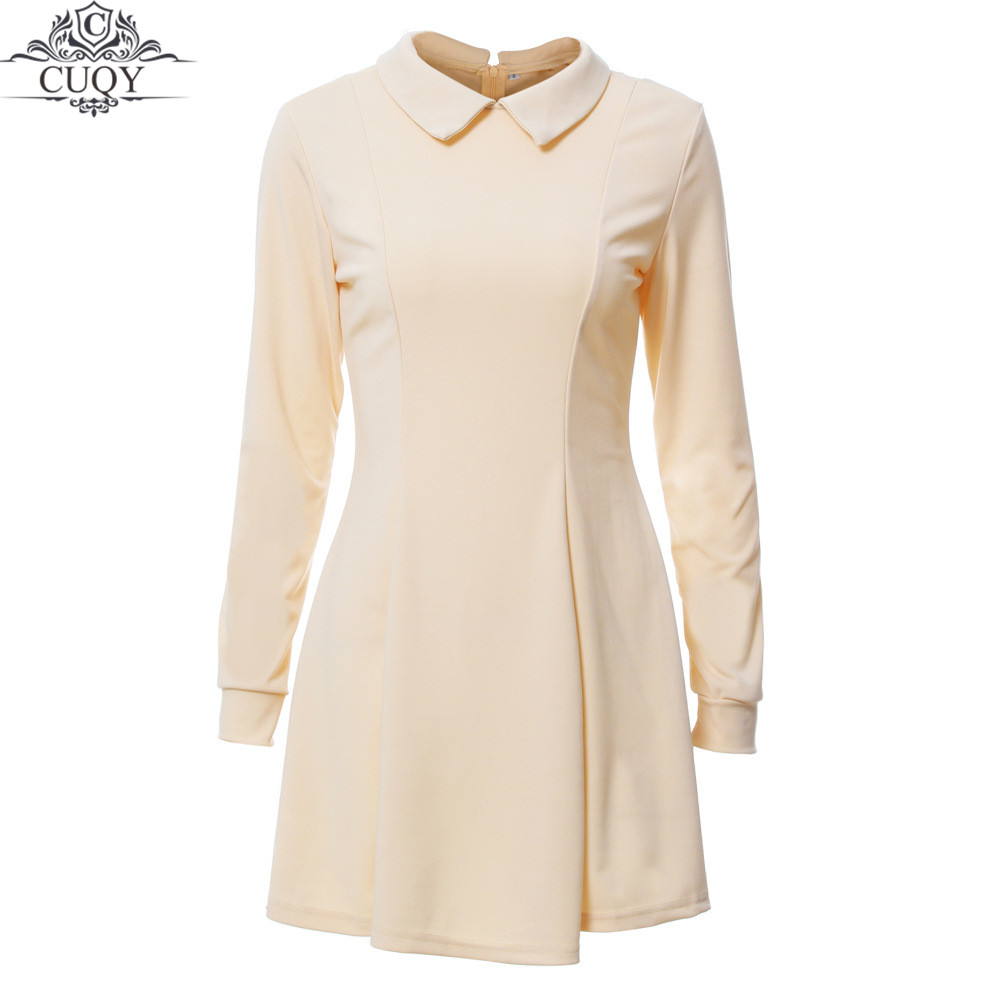 CUQY 2017 New Arrival Solid Cute Mini Ladies Dress Peter Pan Collar School Preppy Style Dresses Zipper Long Sleeve Mini Dresses(China (Mainland))