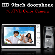 9inch monitor color video doorphone intercom system with 700tvl outdoor unit