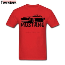 Creative Mustang Front Tees Shirt Men's Short Sleeve Crewneck Cotton Plus Size Couple Tshirt(China)
