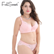 Buy FallSweet Plus Size Bra Set Push Bras Panty Set Wide Back Underwire Lingerie Set White C D Cup XXXXL