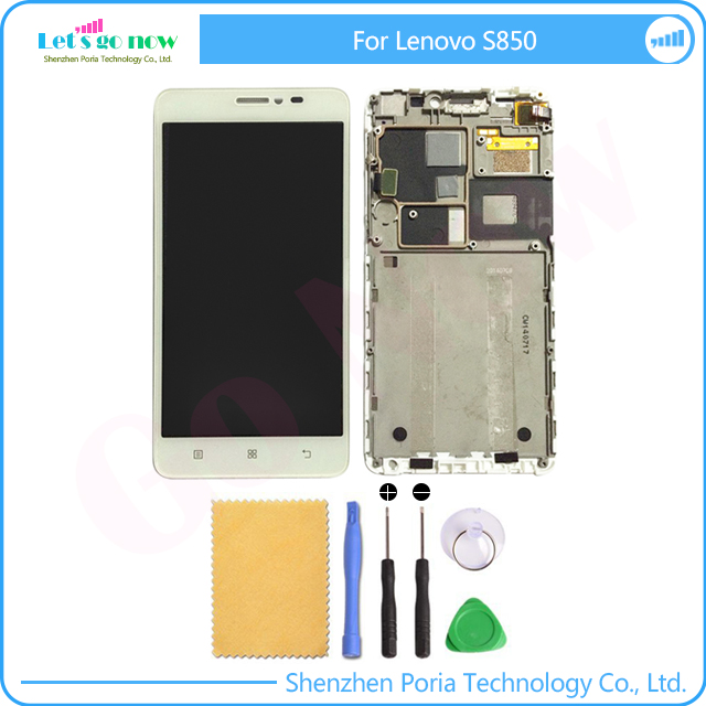 100% Test LCD Display With Touch Screen Digitizer Assembly With Frame For Lenovo S850 LCD Screen Replacement Part+Tools<br><br>Aliexpress