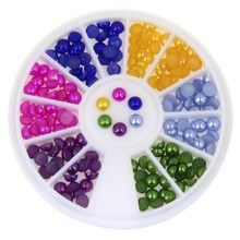 3D Nai Art Decoration Wheel Flat Back Round Cabochon Nail DIY Stud Jewelry Mix Color Makeup Nail Art  Accessories WY187