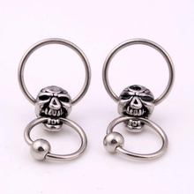 1Piece Stainless Steel Captive Hoop Rings CBR Eyebrow Skull Tragus Earrings Nose Closure Skulls Body Piercings Jewelry Helix