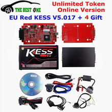 Online EU Version Red KESS V5.017 SW V2.23 No Token Limit Kess V2 5.017 HW OBD2 Manager Tuning Kit Best Car Truck ECU Programmer(China)