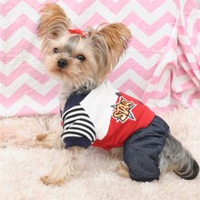 Kawaii Pet Shop Star Striped Dog Jumpsuits Rompers Pet Clothes Dog Sweaters Clothes for Dogs Couple Dog Clothes Hot Sale 16ZF51(China)