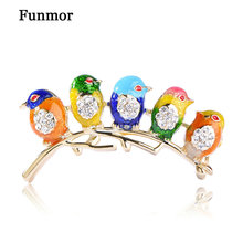 Colorful Enamel Five Birds Brooch With Crystal Rhinestones Collar Clip Dress Coat Decoration Animal Brooches For Friends Gift uk(China)