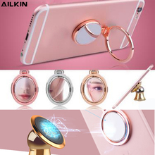 AILKIN Magnetic mobile phone holder Anti-lost plating can magnetized stent 360degree rotation pop holder grip holder for phone