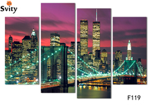 4 rectangular section free shipping wall stickers home decoration painting New York cityscapes digital image (frameless) F119