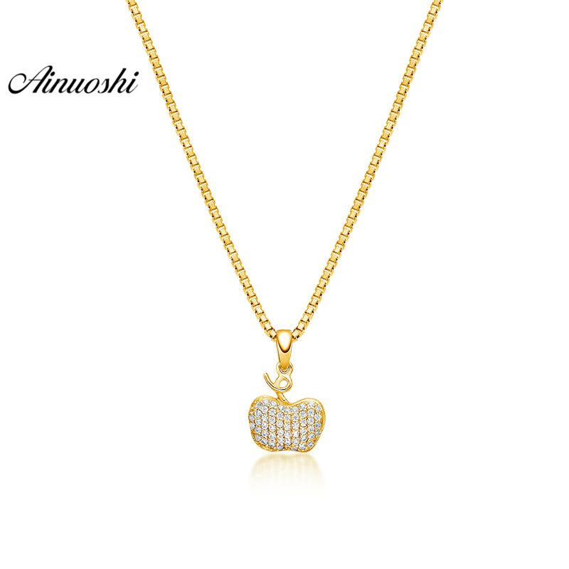 AINUOSHI 10K Solid Yellow Gold Pendant Brilliant Apple Pendant SONA Diamond Women Men Jewelry Exquisite Fruit Separate Pendant