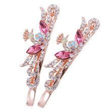 Buy 1Pair Butterfly Peacock Crystal Rhinestone Hair Clips Korean Women Barrettes Hairpins Hairband Clamp Hair Accessories for $1.29 in AliExpress store