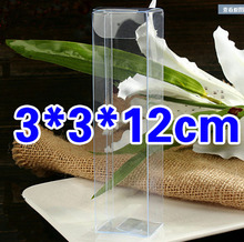 100pcs=1lot Wholesale PVC Rectangle Gift Box 3*3*12cm Transparent Clear  Box Packing Pencil/Rule/Knifel Display Box