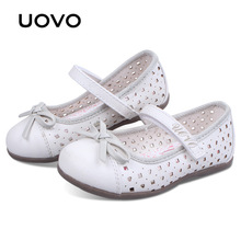 UOVO children little girls dress shoes girls princess shoes bowtie white shoes Soft pretty comfortable for kids girls(China)
