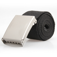 Fashion Practical Mens Black Webbing Web Military Style Canvas Tan Belt Metal Buckle Hot