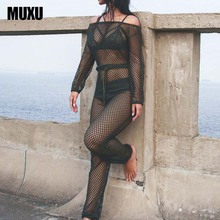 Buy MUXU new sexy rompers mesh jumpsuit combinaison femme jumpsuits womens clothing beach ladies long sleeve casual long jumpsuits for $20.43 in AliExpress store