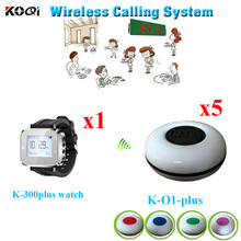 Wireless Sound System Any Language Any Logo Accept For Restaurant Calling Waiter( 1pcs wrist watch+ 5pcs waterproof call button)(China)