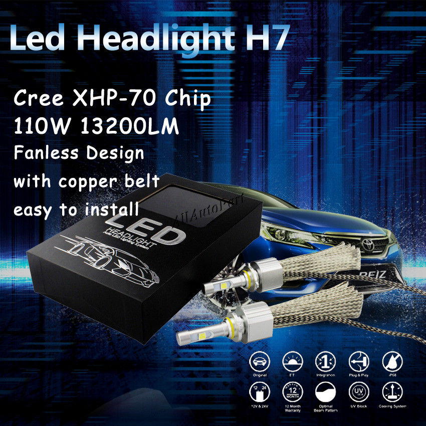 Fanless LED Headlight Kit C ree xhp70  LED 6000K White HID Replacement 55W 6600LM bulb 9012 H7 H11 9005 9006 H13 9007 9004<br><br>Aliexpress