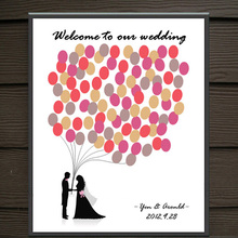 HAOCHU Meaningful Canvas Painting Fingerprint Tree Signature Wedding Gift and Party Decoration Happy Couple Poster &Inkpad