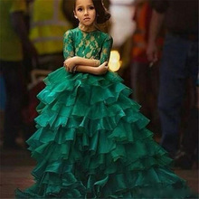 2017 Flower Girls Dresses Half Sleeves Jewel Neck Lace Emerald Green Ball Gown Ruffles Organza Children Pageant Dress HT218