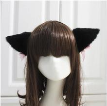 Free Shipping White/Black Fur Cat Fox Ear Hair Clip Bell Handband Headwear Party Ball Club(China)