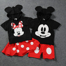Fashion Hoodie Mickey Shirt + Shorts Sets Girls and Baby Boy Summer Clothing Set Kids Clothes 2017(China)