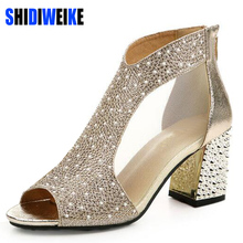 SHIDIWEIKE Brand Shoes Woman Summer Gladiator Women Sandals sexy Peep Toe Ankle Strap high heel sandals Mesh hollow sandalias