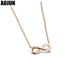 AOJUN Woman Necklace Fashion Unlimited Rose Gold Color 8 character Necklace & Pendants  Necklaces For Women Jewelry Accessories