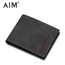 AIM Genuine Leather Small Mini Ultra-thin Wallets Men Compact Wallet Cowhide Card Holder Male Short Purse Men Walet A402(China)