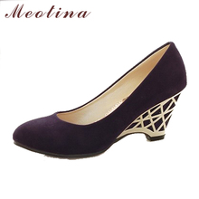Meotina High Heels Women Wedge Heels Shoes Cheap Gold High Heels Office Ladies Red Pumps Autumn Autumn Shoes Purple Size 34 -39
