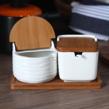 Creative Ceramic Seasoning Cans with Spoon Bamboo Cover Round Salt Pigs Kitchen Spice Tools Pepper Shaker Storage Box with Tray(China)