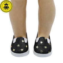BJD Doll American Girl Doll Shoes Five-pointed Star Casual Leather Shoes Fit 18 inch Doll Doll Accessories Girl Gift xie578(China)