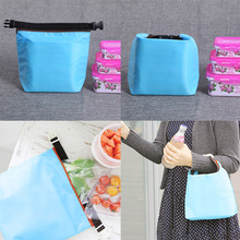 Portable Insulated Oxford lunch Bag Waterproof Travel Outdoor Drink Tote Storage Bag Travel Cosmetic Lunch Box Bag Blue