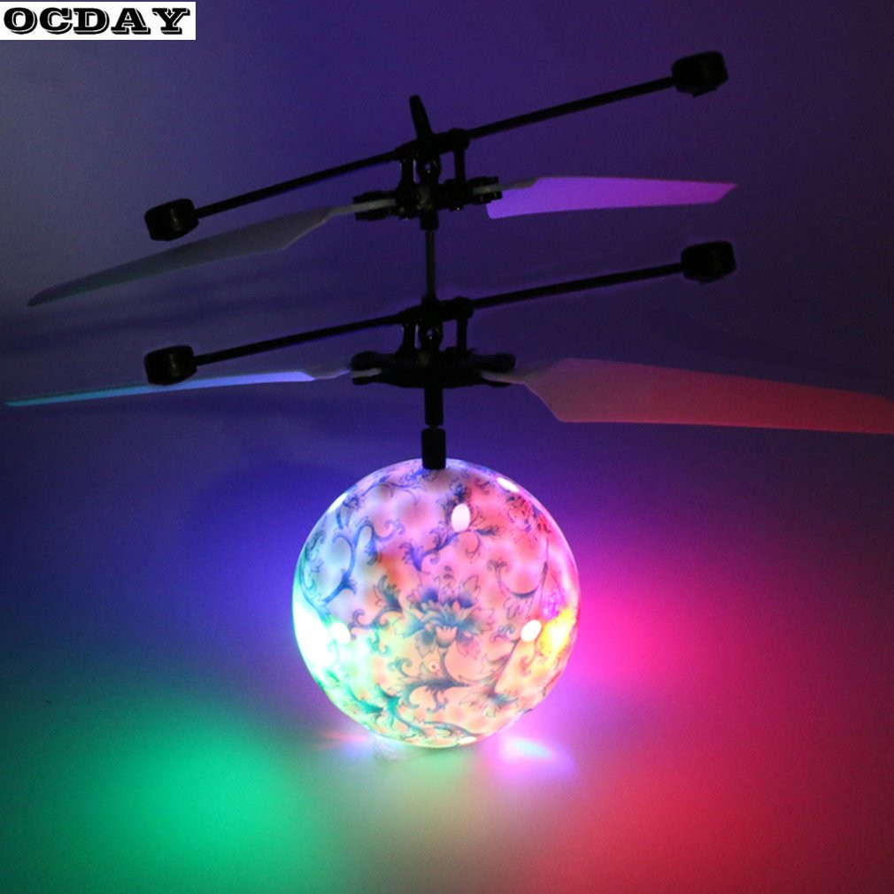 LED Remote Football Flying RC Drone Helicopter Infrared Induction Mini Aircraft Porcelain Ball 2 Colors Lighting Kids Toys