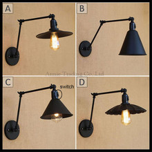 Black 25cm+25cm double swing arms switch wall lights lid plate unbrella Lotus leaf Metal shade sconce home lamp fixture lighting
