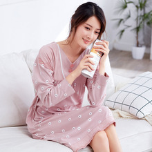 2017 Cotton Nightgowns Women Casual Sleepwear Long Sleeve Night Wear Plus Size Nightdress Comfortable Home Clothes Autumn Winter(China)