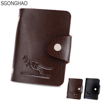 Vintage Mens Portable Black PU Leather Wallet Paper Money Billfold Business Card Hold Id Card Bag