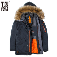 TIGER FORCE High Quality Men Padded Parka Cotton Coat Winter Jacket Mens Winter Coat Thick Parkas Artificial Fur Free Shipping(China)