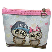 Women small Cute Owl Wallet Credit Card Holder Short PU leather Coin Purse Zipper Change Purse Best Child Gift 2017 Fashion