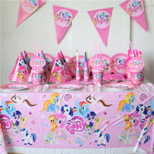 120pcs\lot Kids Favors My Little Pony Baby Shower Tablecloth Birthday Party Decoration Flags Paper Napkins Plates Cups Supplies