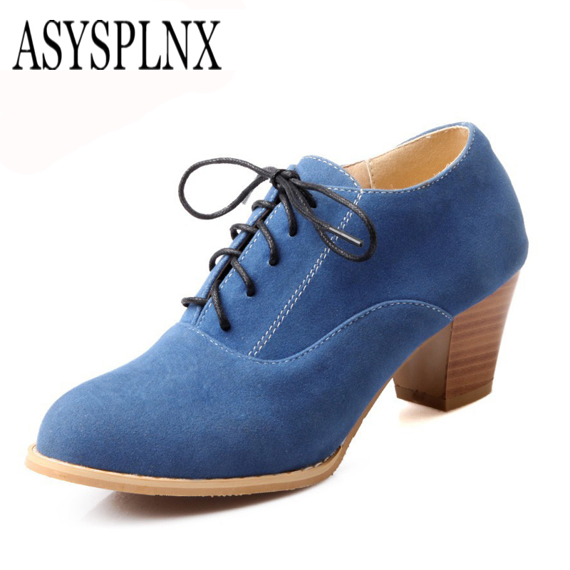 ASYSPLNX Blue yellow black pointed toe women riding Ankle boots 2017 autumn spring woman Lace up shoes simple shoes female<br><br>Aliexpress