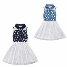 Print Denim Girls Christmas Dress Kids Party Dresses for Girls Cute Clothes Summer Princess Cheap Flower Maxi White Blue Sundres