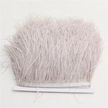 1meter/lot Natural Ostrich Feather fringe Light champange Ostrich feather Trimming 10-15cm Feather Boa Stripe for Party Clothes(China)