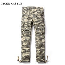 TIGER CASTLE Camo Carog Pants Men Military Tactical Camouflage Cotton Track Pants Army Large Size Male Trousers Brand-clothing(China)